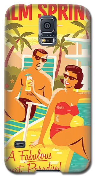 Desert Galaxy S5 Case - Palm Springs Retro Travel Poster by Jim Zahniser