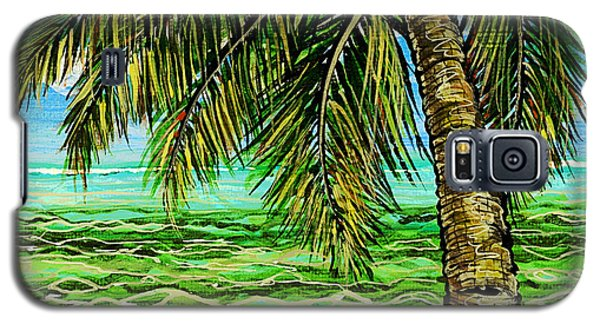 Galaxy S5 Case featuring the painting Palm Tree by Debbie Chamberlin