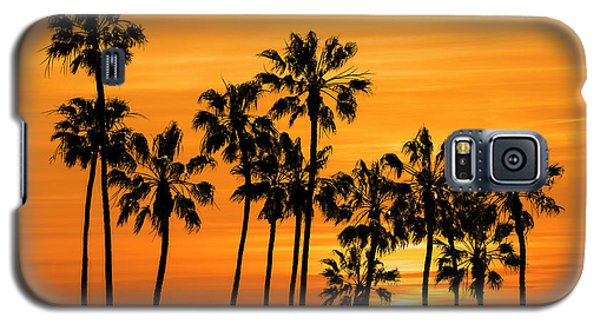 Galaxy S5 Case featuring the photograph Palm Trees At Sunset By Cabrillo Beach by Randall Nyhof