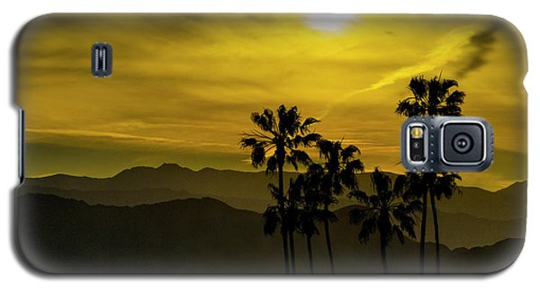 Galaxy S5 Case featuring the photograph Palm Trees At Sunset With Mountains In California by Randall Nyhof