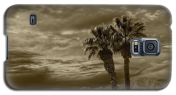 Galaxy S5 Case featuring the photograph Palm Trees By Borrego Springs In Sepia Tone by Randall Nyhof