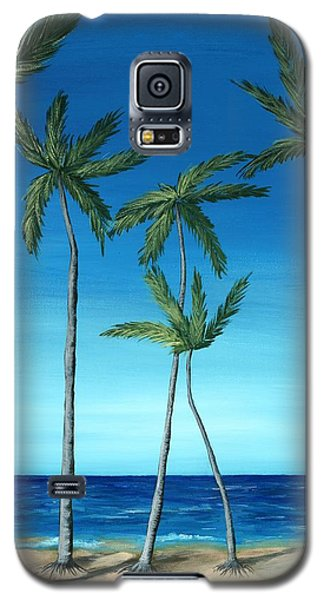 Galaxy S5 Case featuring the painting Palm Trees On Blue by Anastasiya Malakhova