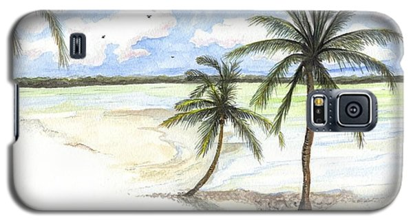 Galaxy S5 Case featuring the painting Palm Trees On The Beach by Darren Cannell