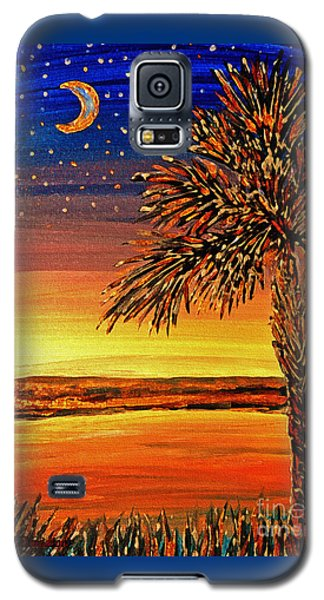 Galaxy S5 Case featuring the painting Palmetto Sunset  by Patricia L Davidson