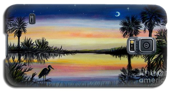 Galaxy S5 Case featuring the painting Palmetto Tree And Moon Low Country Sunset by Patricia L Davidson