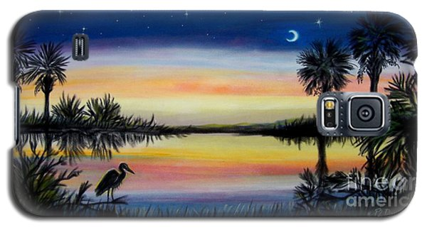 Palmetto Tree And Moon Low Country Sunset Galaxy S5 Case by Patricia L Davidson