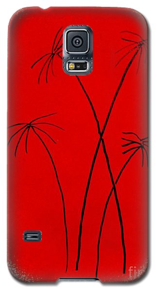 Galaxy S5 Case featuring the painting Palms And Sunset by Roberto Prusso