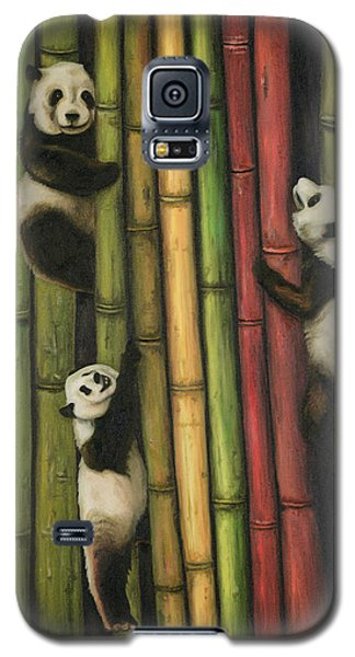 Galaxy S5 Case featuring the painting Pandas Climbing Bamboo by Leah Saulnier The Painting Maniac