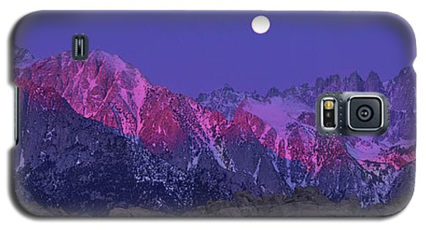 Galaxy S5 Case featuring the photograph Panorama Moonset Over Mount Whitney Alabama Hills Ca by Dave Welling