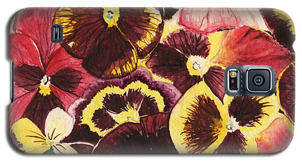 Galaxy S5 Case featuring the painting Pansies Competing For Attention by Shawna Rowe