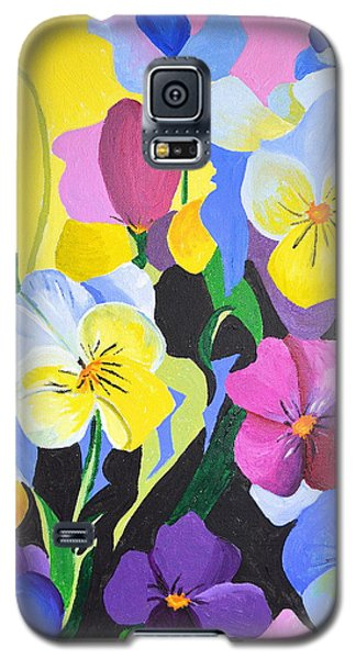 Galaxy S5 Case featuring the painting Pansies by Donna Blossom