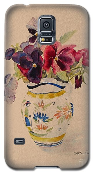 Galaxy S5 Case featuring the painting Pansies In A Quimper Pot by Beatrice Cloake