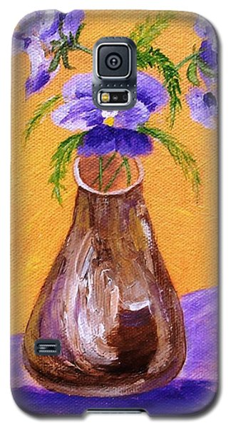 Pansies In Brown Vase Galaxy S5 Case