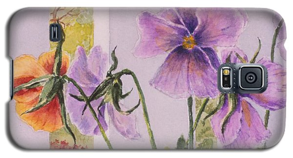 Galaxy S5 Case featuring the painting Pansies On My Porch by Mary Ellen Mueller Legault