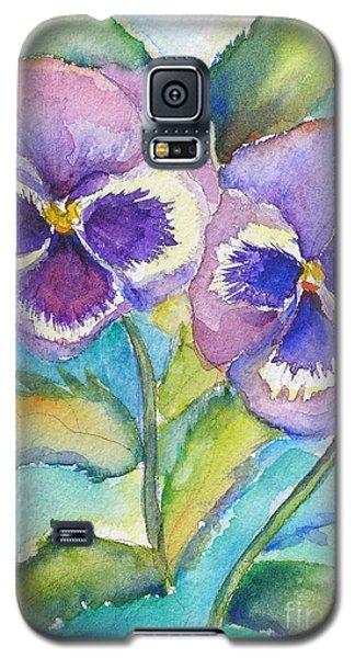 Galaxy S5 Case featuring the painting Pansies by Patricia Piffath