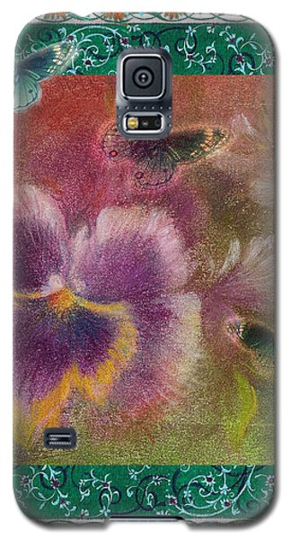 Galaxy S5 Case featuring the painting Pansy Butterfly Asianesque Border by Judith Cheng