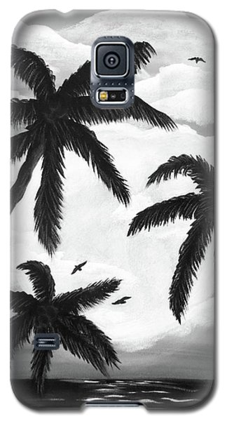 Galaxy S5 Case featuring the painting Paradise In Black And White by Teresa Wing