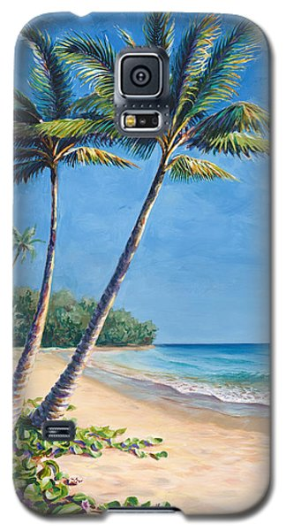 Galaxy S5 Case featuring the painting Tropical Paradise Landscape - Hawaii Beach And Palms Painting by Karen Whitworth