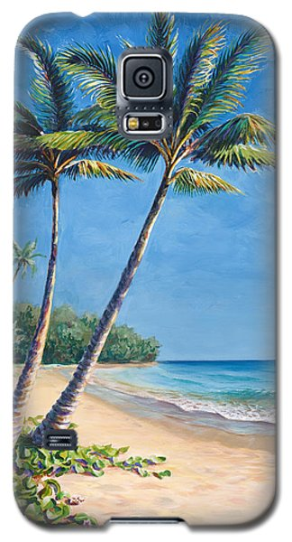 Tropical Paradise Landscape - Hawaii Beach And Palms Painting Galaxy S5 Case