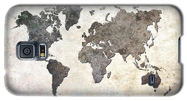 Parchment World Map Galaxy S5 Case by Douglas Pittman