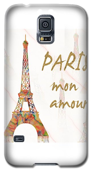 Galaxy S5 Case featuring the painting Paris Mon Amour Mixed Media by Georgeta Blanaru