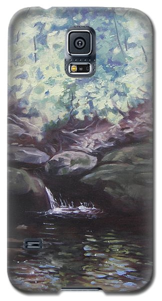 Galaxy S5 Case featuring the painting Paris Mountain Waterfall by Robert Decker