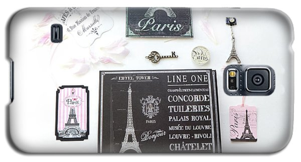 Galaxy S5 Case featuring the photograph Paris Pink Black French Script Wall Decor Art, Paris Print Collection  - Parisian Pink Black Decor   by Kathy Fornal