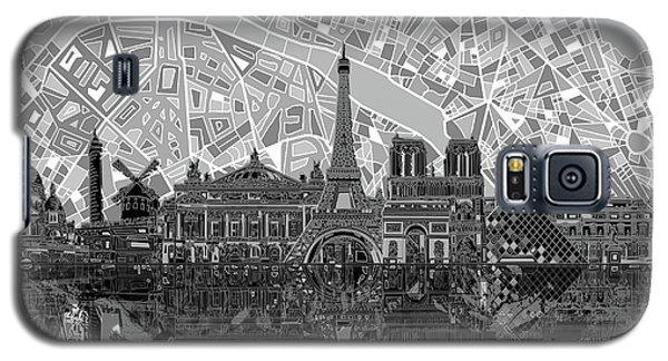 Galaxy S5 Case featuring the painting Paris Skyline Black And White by Bekim Art