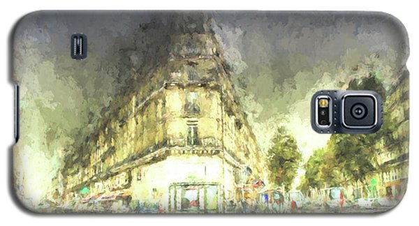 Galaxy S5 Case featuring the mixed media Paris Streets by Jim  Hatch