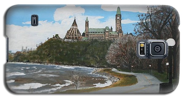Galaxy S5 Case featuring the painting Parliament Hill Ottawa River by Betty-Anne McDonald