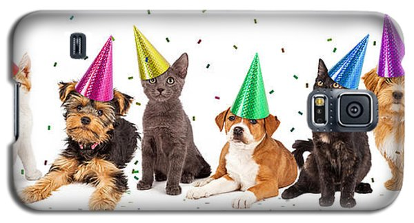 Party Puppies And Kittens With Confetti Galaxy S5 Case