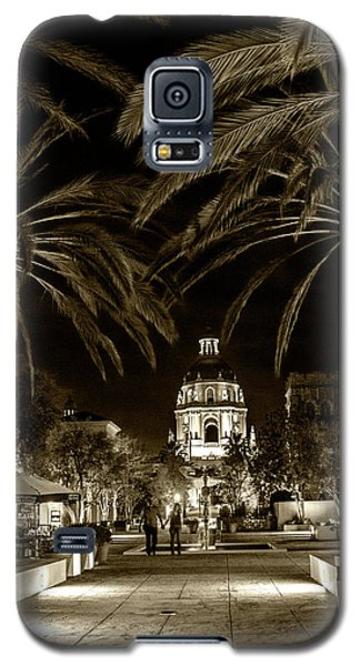Galaxy S5 Case featuring the photograph Pasadena City Hall After Dark In Sepia Tone by Randall Nyhof