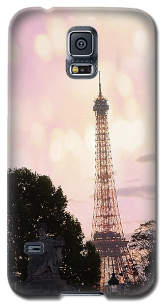 Galaxy S5 Case featuring the photograph Pastel Paris Eiffel Tower Sunset Bokeh Lights - Romantic Eiffel Tower Pink Pastel Home Decor by Kathy Fornal