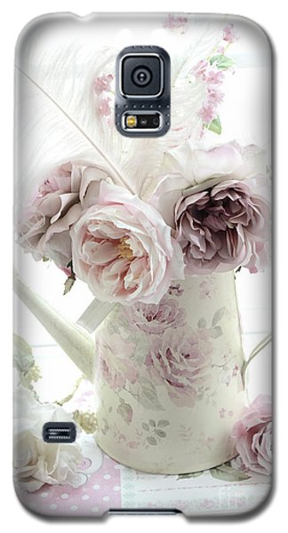 Galaxy S5 Case featuring the photograph Pastel Romantic Shabby Chic Pink Flowers In Watering Can - Romantic Cottage Floral Home Decor  by Kathy Fornal