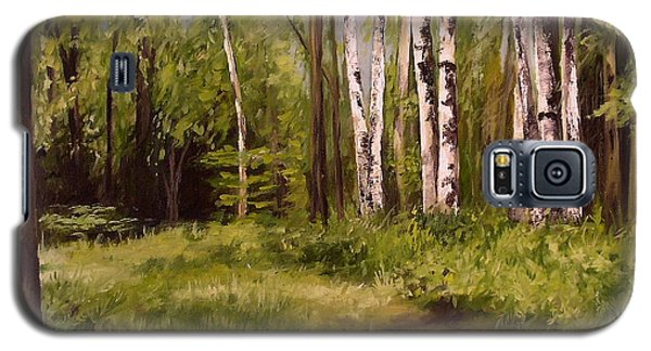 Galaxy S5 Case featuring the painting Path To The Birches by Laurie Rohner
