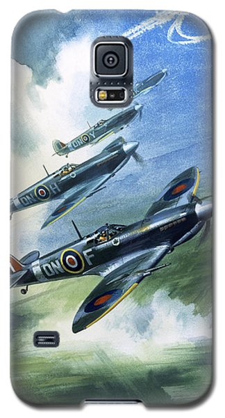 Patrolling Flight Of 416 Squadron, Royal Canadian Air Force, Spitfire Mark Nines Galaxy S5 Case by Wilf Hardy
