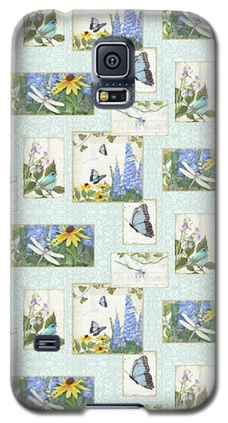 Pattern Butterflies Dragonflies Birds And Blue And Yellow Floral Galaxy S5 Case by Audrey Jeanne Roberts