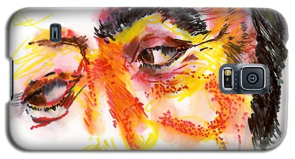Galaxy S5 Case featuring the drawing Pavarotti Sketch No. 1 by Andrew Gillette
