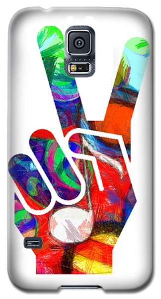 Peace Hippy Paint Hand Sign Galaxy S5 Case