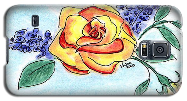 Galaxy S5 Case featuring the drawing Peace Rose by Vonda Lawson-Rosa