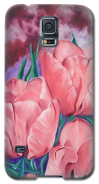 Peach Pink Tulips Galaxy S5 Case