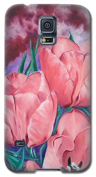 Galaxy S5 Case featuring the painting Peach Pink Tulips by Sigrid Tune
