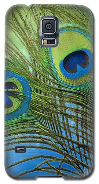 Peacock Candy Blue And Green Galaxy S5 Case by Mindy Sommers