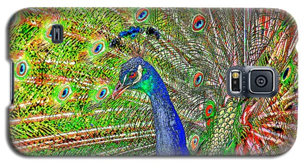 Peacock Fanned Tail Feathers Galaxy S5 Case by Tracie Kaska