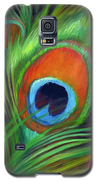 Galaxy S5 Case featuring the painting Peacock Feather by Nancy Tilles
