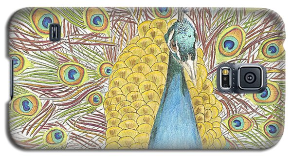 Galaxy S5 Case featuring the drawing Peacock One by Arlene Crafton