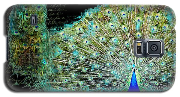 Peacock Pair On Tree Branch Tail Feathers Galaxy S5 Case