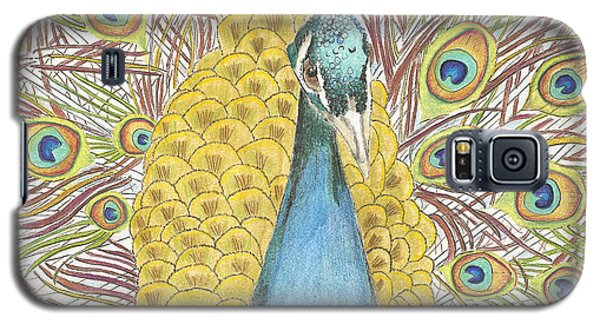 Galaxy S5 Case featuring the drawing Peacock Two by Arlene Crafton