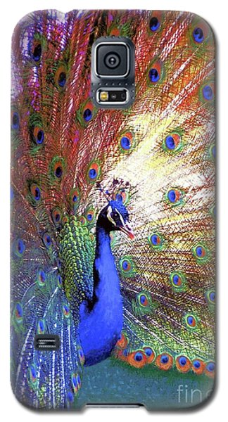 Galaxy S5 Case featuring the painting Peacock Wonder, Colorful Art by Jane Small