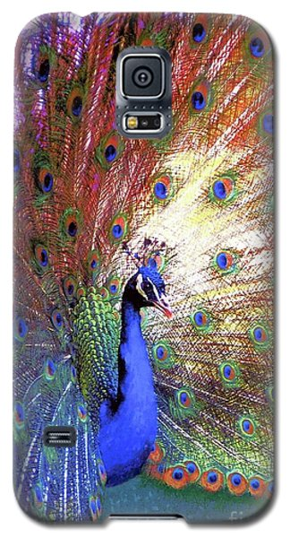 Peacock Wonder, Colorful Art Galaxy S5 Case by Jane Small
